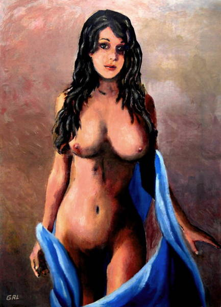 Painting - Original Fine Art Female Nude Jean Standing In Blue Mod3 by G Linsenmayer