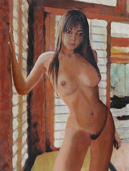 Painting - Original Fine Art Female Nude Standing Multimedia Painting by G Linsenmayer