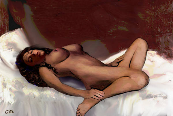 Painting - Original Fine Art Nude Jean 8c Sketch2 Multimedia Digital Art Work by G Linsenmayer
