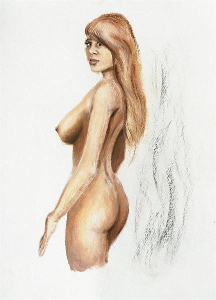 Painting - Original Fine Art Nude Jess Standing Oil Acrylic Sketch by G Linsenmayer
