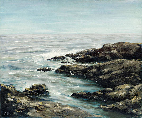 Painting - Original Fine Art Painting Bass Rocks Massachusetts by G Linsenmayer