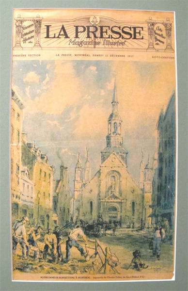 Quebec City Drawing - Original French Advertisement Poster, La Presse 11 December 1937 - Notre Dame De Bonsecours by Charles Tulley