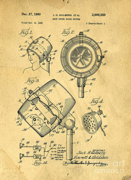 Vintage Patent Drawing - Original Hair Dryer Patent by Edward Fielding
