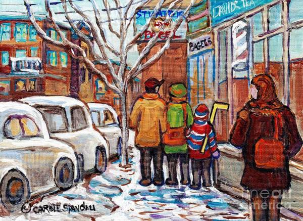 Painting - Original Montreal Art Work For Sale Winter Stroll Paintings Rue St Viateur Canadian Artist C Spandau by Carole Spandau