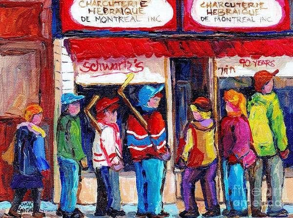 Painting - Original Montreal Schwartz Paintings For Sale Winterscene Canadian Hockey Scenes C Spandau Artist    by Carole Spandau