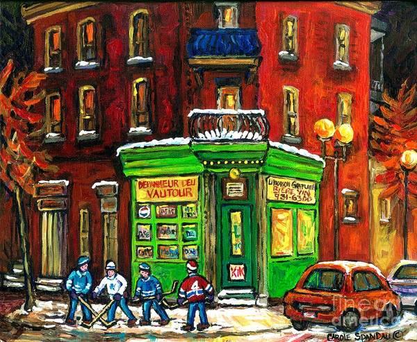 Painting - Original Montreal Winter Scene Painting For Sale Night Hockey Game Depanneur Vautour St Henri Canada by Carole Spandau