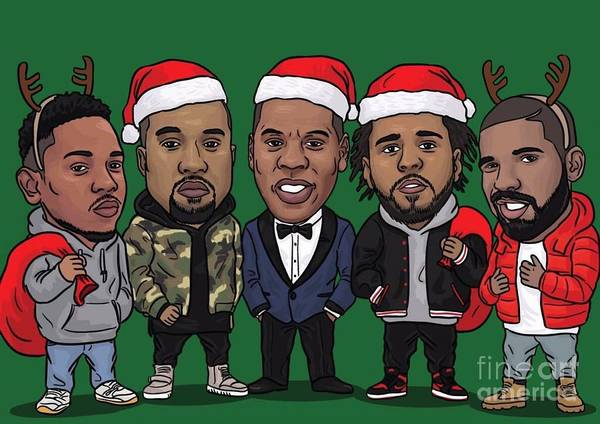 Kanye West Poster Wall Art - Digital Art - Original New Year - Music Brothers by Nicko Demi