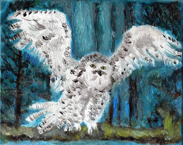 Wall Art - Painting - Original Oil Painting White Owl by Free Spirit