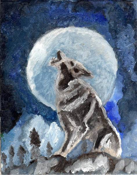 Wall Art - Painting - Original Oil Painting Wolf Howling At A Perfect Moon by Free Spirit