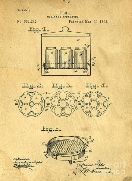 Wall Art - Photograph - Original Patent For Canning Jars by Edward Fielding