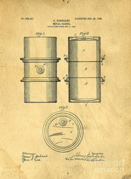 Oil Drawing - Original Patent For The First Metal Oil Drum by Edward Fielding