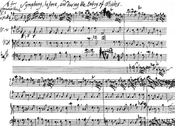 Wall Art - Drawing - Original Score Of The Beginning Of The Symphony Accompanying The Entry Of Alcides by Handel