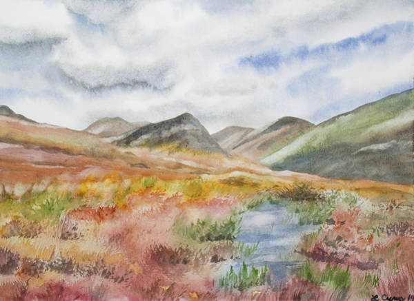 Painting - Original Watercolor - Autumn Irish Landscape by Cascade Colors