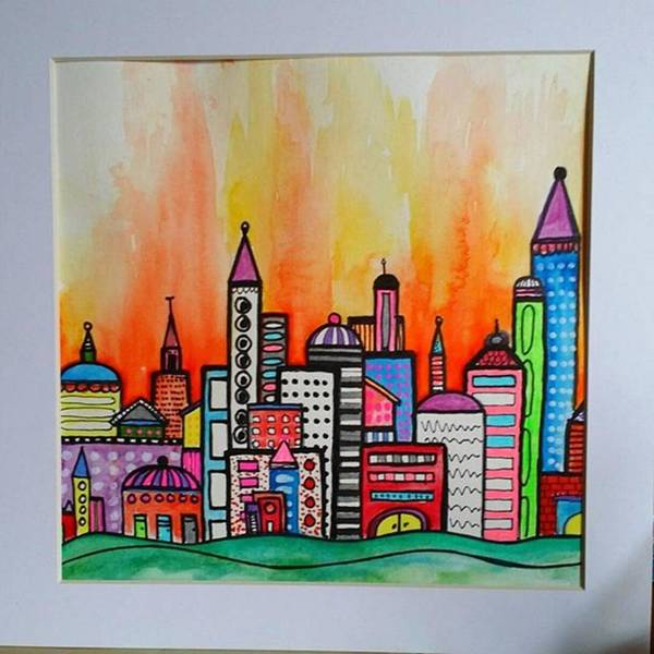 City Scenes Wall Art - Photograph - Original #watercolor ..fire In The by Robin Mead