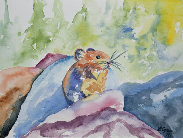 Painting - Original Watercolor - Pika On The Rocks by Cascade Colors