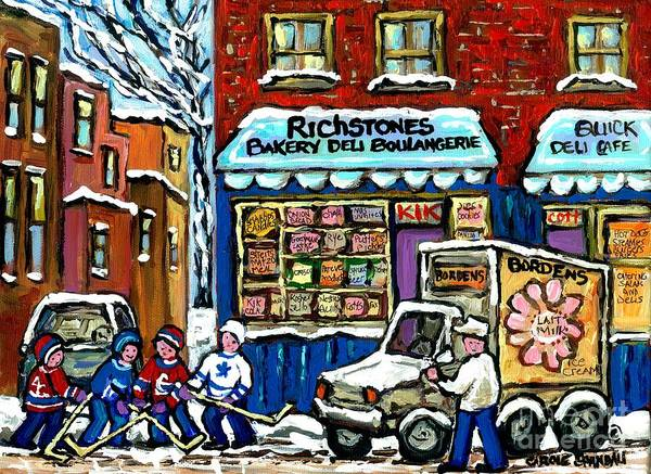 Painting - Original Winter Scene Painting For Sale Montreal Memories Richstone Bakery Borden's Milkman Hockey  by Carole Spandau