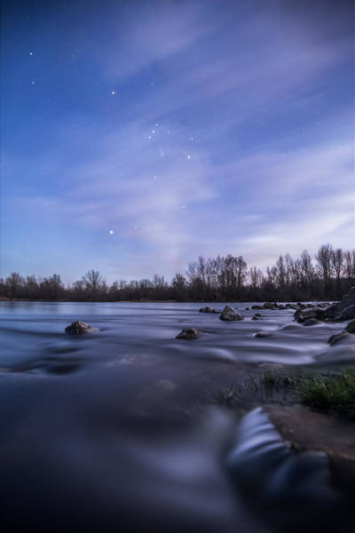 Moonscape Photograph - Orion Above The River by Davorin Mance