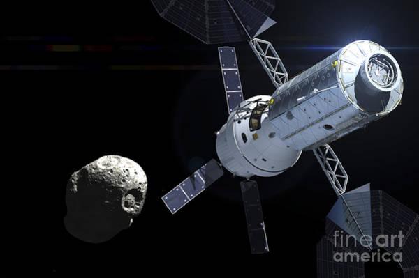Orion Digital Art - Orion Module Orbiting An Asteroid by Adrian Mann