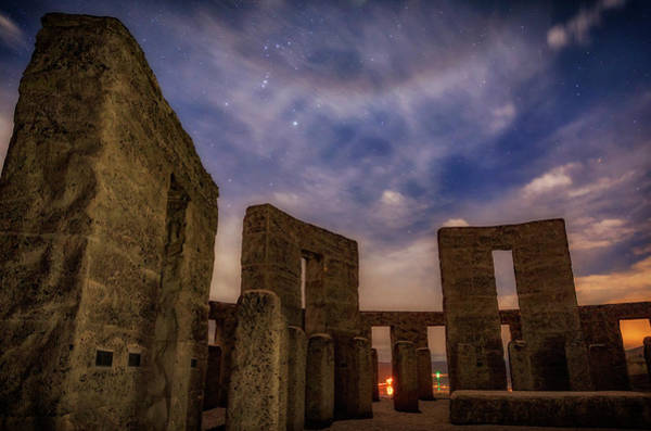 Nightscape Photograph - Orion Over Stonehenge Memorial by Cat Connor