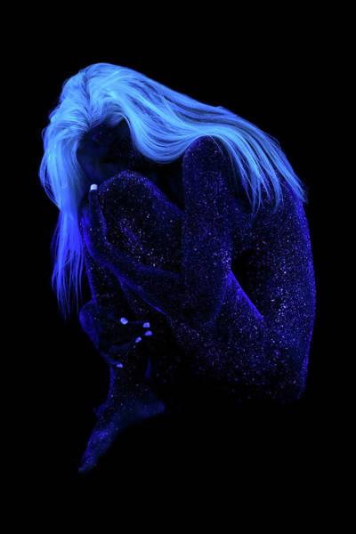 Blacklight Photograph - Orion's Blue Lady - Dark by John Poppleton