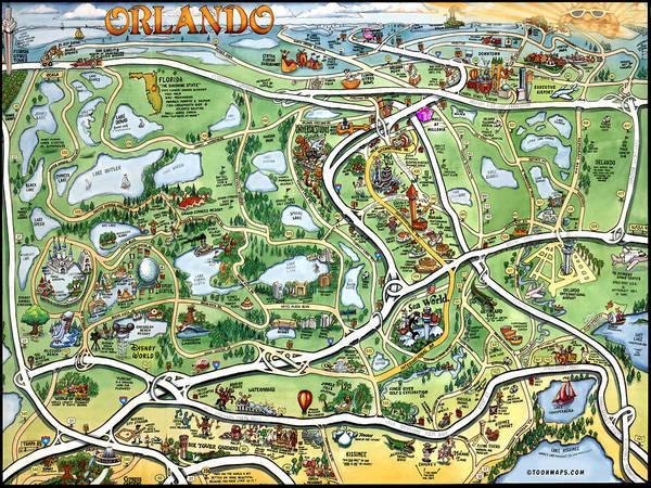 Orlando Florida Cartoon Map Art Print