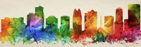 Wall Art - Digital Art - Orlando Skyline Panorama Usflor-pa03 by Aged Pixel