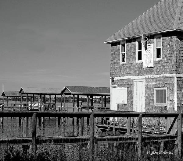 Ormond Photograph - Ormond Yacht Club Black And White by DigiArt Diaries by Vicky B Fuller