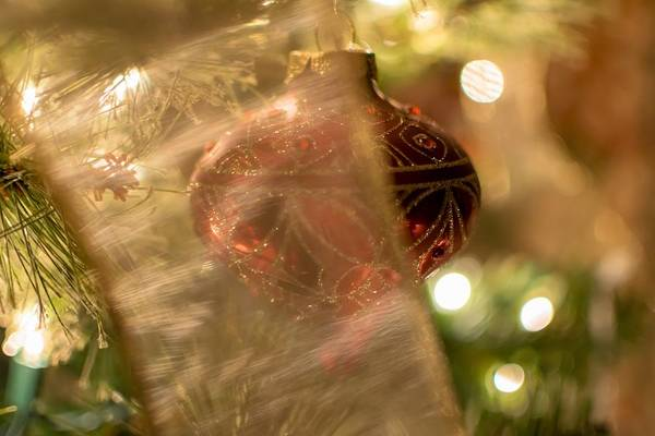 Photograph - Ornament Behind Ribbon by Keith Smith