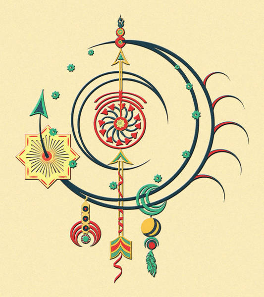 Primary Colors Drawing - Ornament Variation Three by Deborah Smith