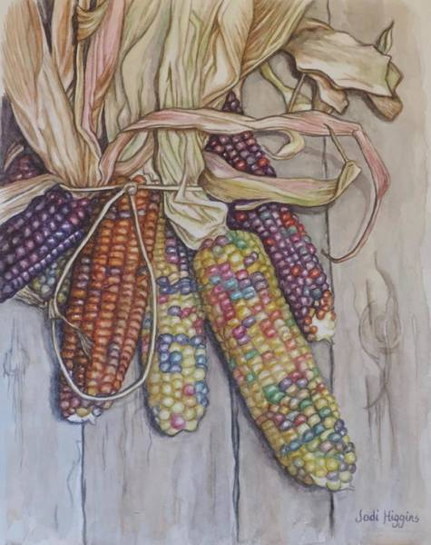 Husk Painting - Ornamental Corn On Barn Door by Jodi Higgins