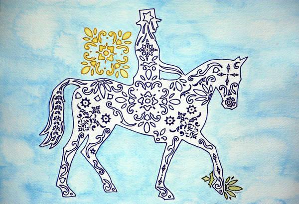 Wall Art - Drawing - Ornamental Dressage by Alynne Landers