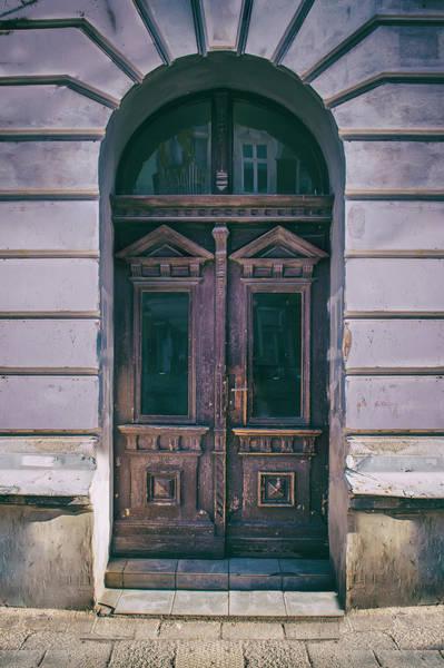 Wall Art - Photograph - Ornamented Wooden Gate In Violet Tones by Jaroslaw Blaminsky