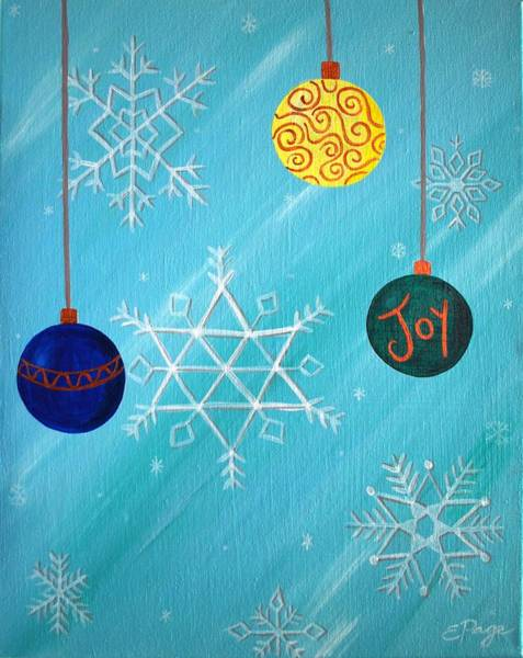Painting - Ornaments And Snowflakes by Emily Page