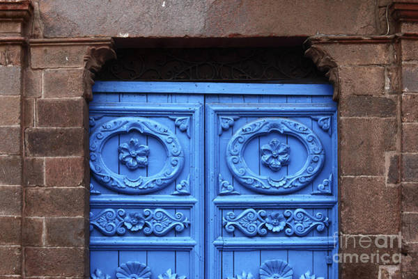 Photograph - Ornate Colonial Door Detail Cuzco by James Brunker