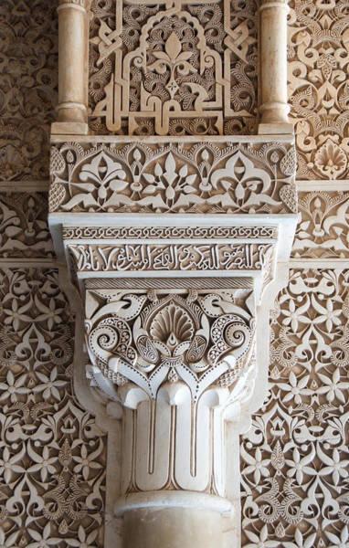 Photograph - Ornate Column Alhambra by David Kleinsasser