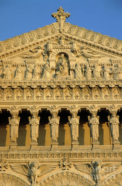Wall Art - Photograph - Ornate Facade Of The Basilica Of Notre-dame De Fourviere At Sunset by Sami Sarkis