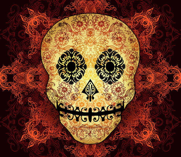 Wall Art - Digital Art - Ornate Floral Sugar Skull by Tammy Wetzel
