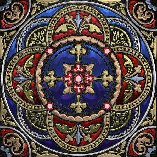 Digital Art - Ornate Medieval Sacred Celtic Cross Over Black Leather  by Serge Averbukh