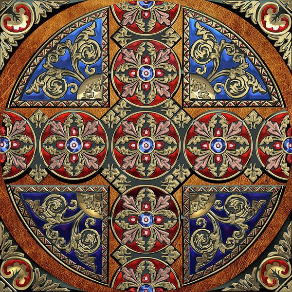 Digital Art - Ornate Medieval Sacred Celtic Cross Over Brown Leather by Serge Averbukh