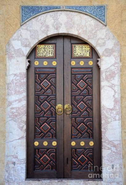 Photograph - Ornately Decorated Wood And Brass Inlay Door Of Sarajevo Mosque Bosnia Hercegovina by Imran Ahmed