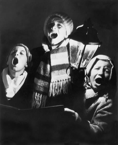 Carol Singing Photograph - Orphans Sing Christmas Carols by Underwood Archives