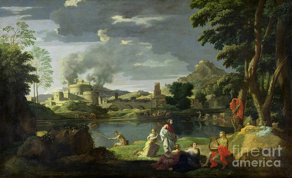 Classical Mythology Painting - Orpheus And Eurydice by Nicolas Poussin