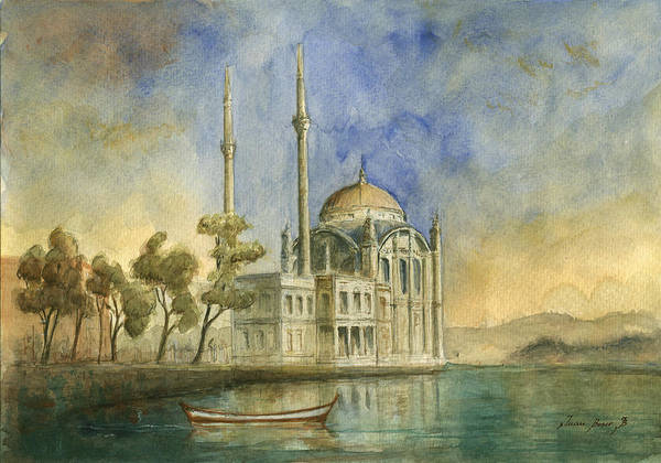 Maiden Wall Art - Painting - Ortakoy Mosque Istanbul by Juan Bosco