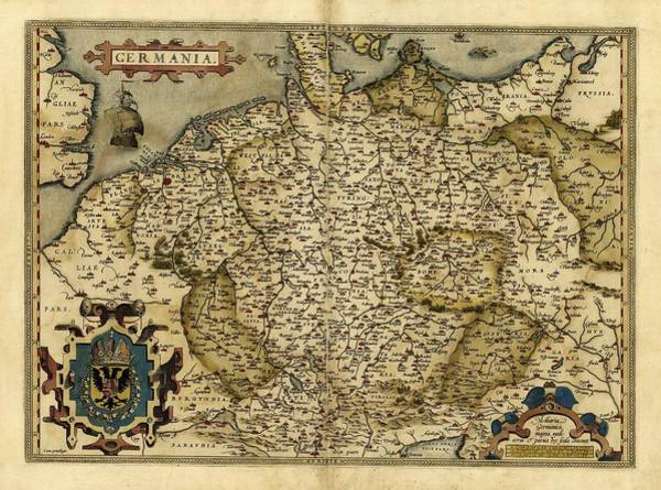 Germania Photograph - Ortelius's Map Of Germany, 1570 by Library Of Congress, Geography And Map Division