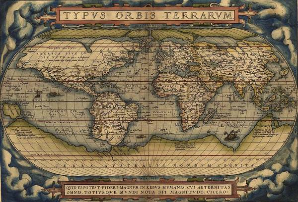 Wall Art - Photograph - Ortellius World Map 1570 A.d. by L Brown