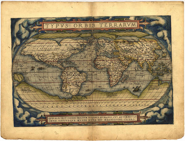 Wall Art - Photograph - Ortellius World Map 1570 A.d. Original Border by L Brown