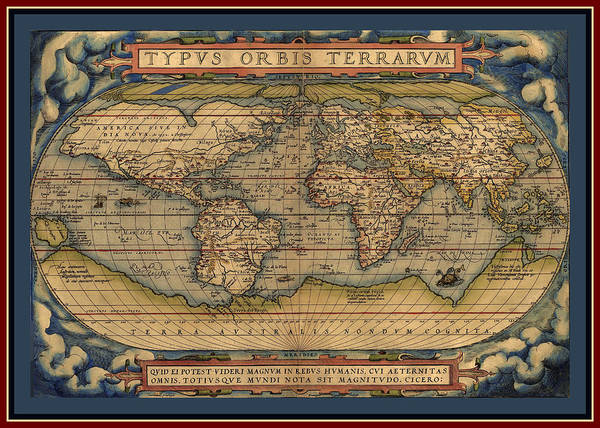 Wall Art - Photograph - Ortellius World Map 1570 A.d. With Contrasting Quadruple Border Enhanced by L Brown