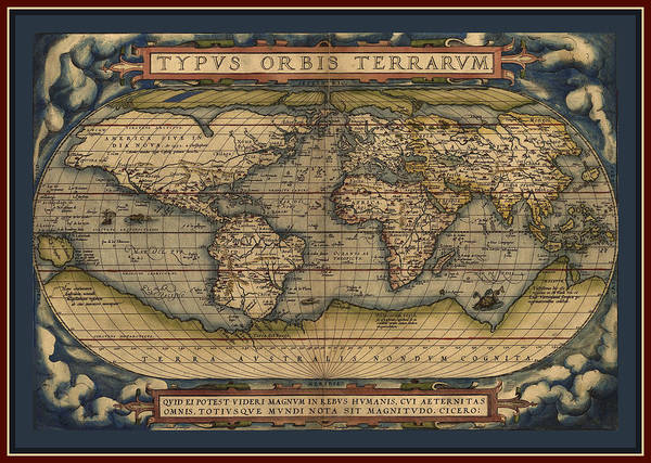 Wall Art - Photograph - Ortellius World Map 1570 A.d. With Quadruple Contrasting Border by L Brown