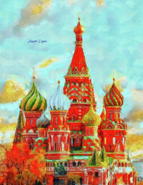 Ortodox Wall Art - Painting - Ortodox Moscow - Val D'orcia Style by Leonardo Digenio