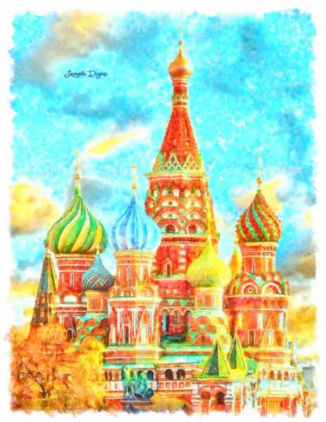 Ortodox Wall Art - Digital Art - Ortodox Moscow  - Watercolor Style -  - Da by Leonardo Digenio